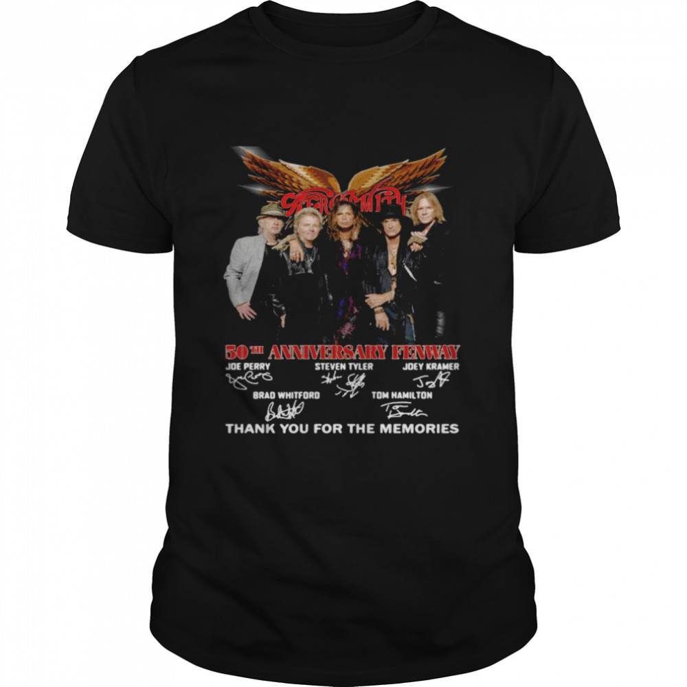 Aerosmith 50Th Anniversary Fenway Thank You For The Memories Signature Shirt