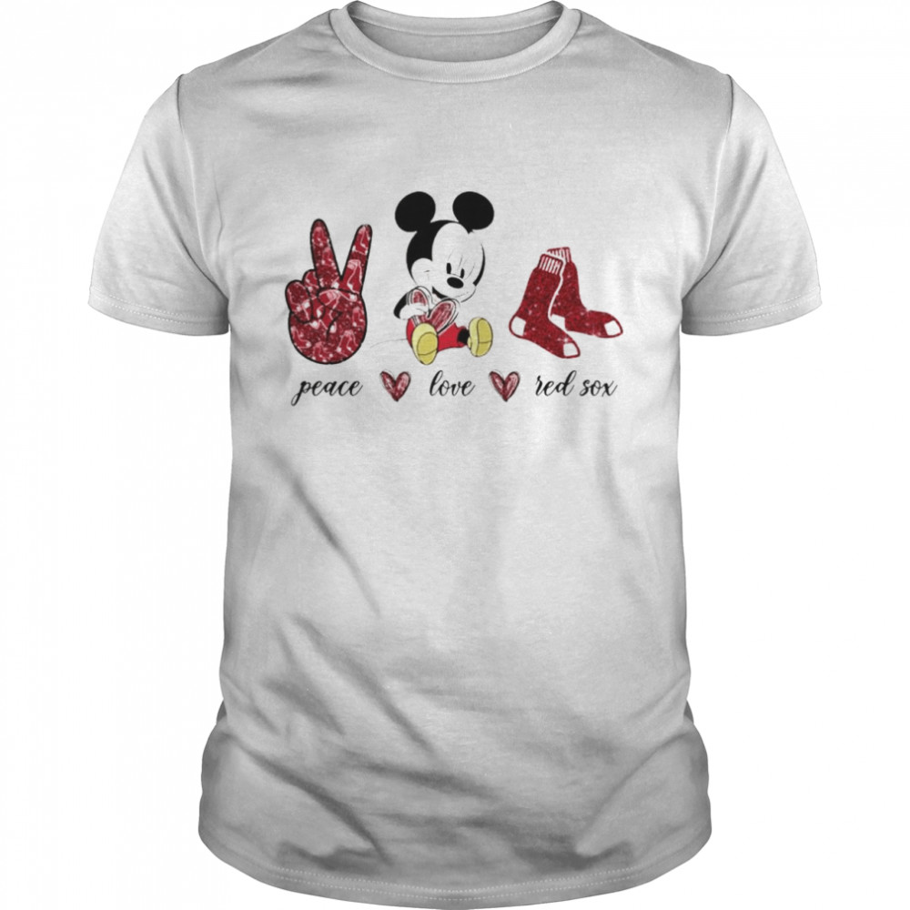 Mickey Mouse Peace Love Boston Red Sox Shirt