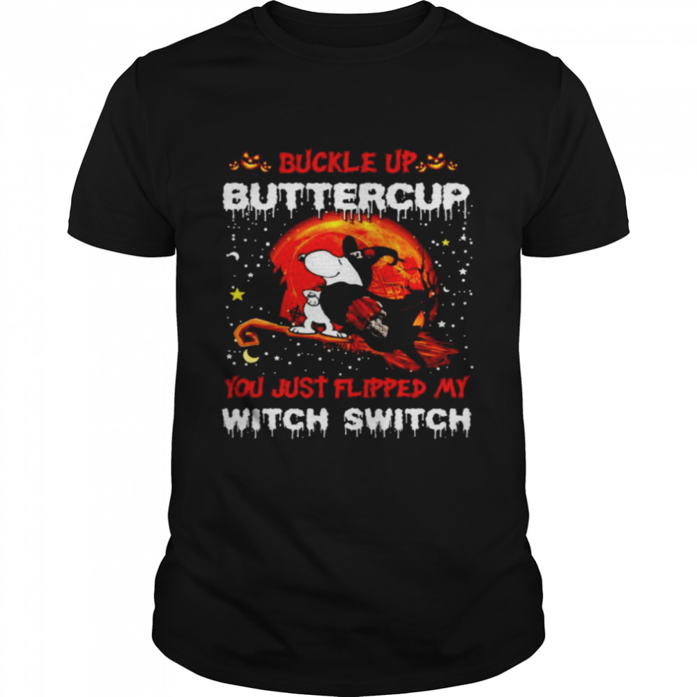 Snoopy Browns Buckle Up Buttercup You Just Flipped Halloween Shirt