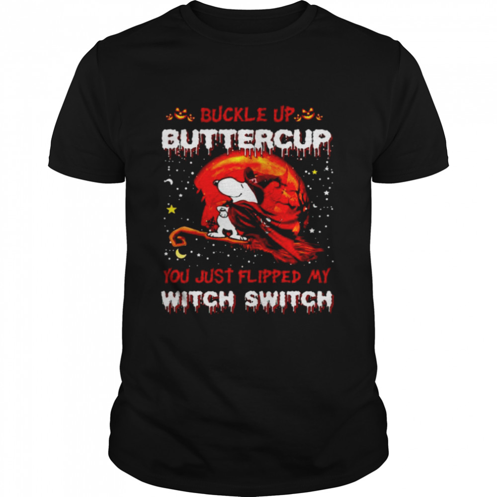 Snoopy Buccaneers Buckle Up Buttercup You Just Flipped Halloween Shirt