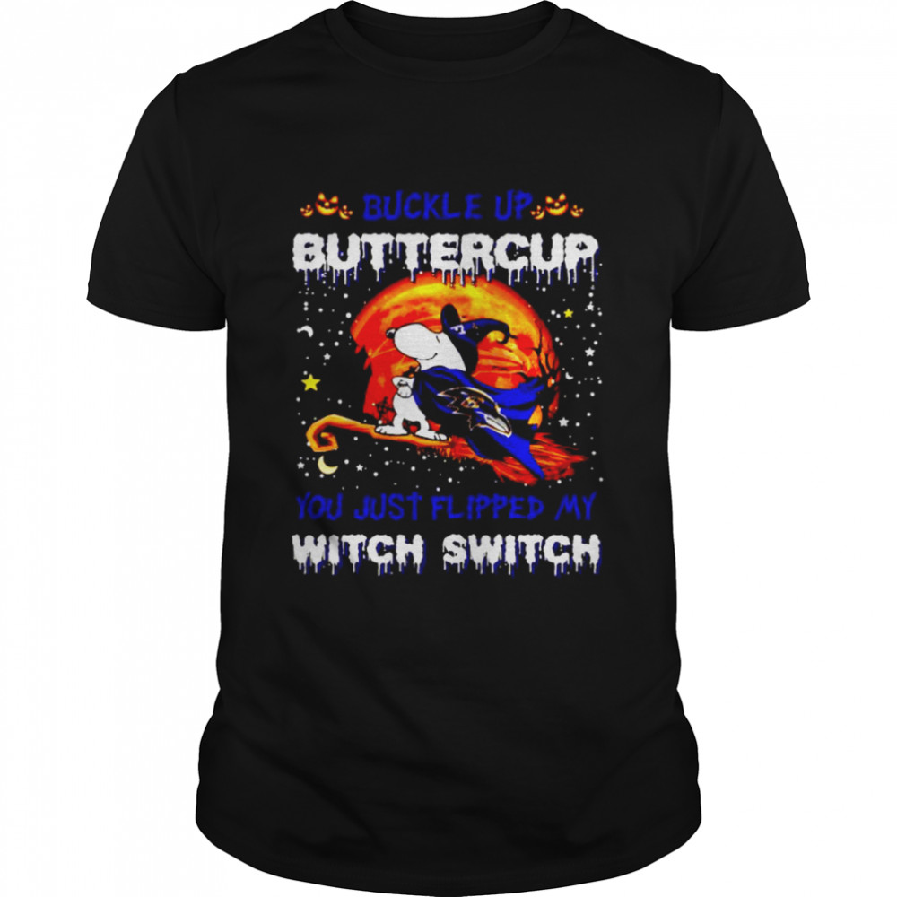 Snoopy Ravens Buckle Up Buttercup You Just Flipped Halloween Shirt