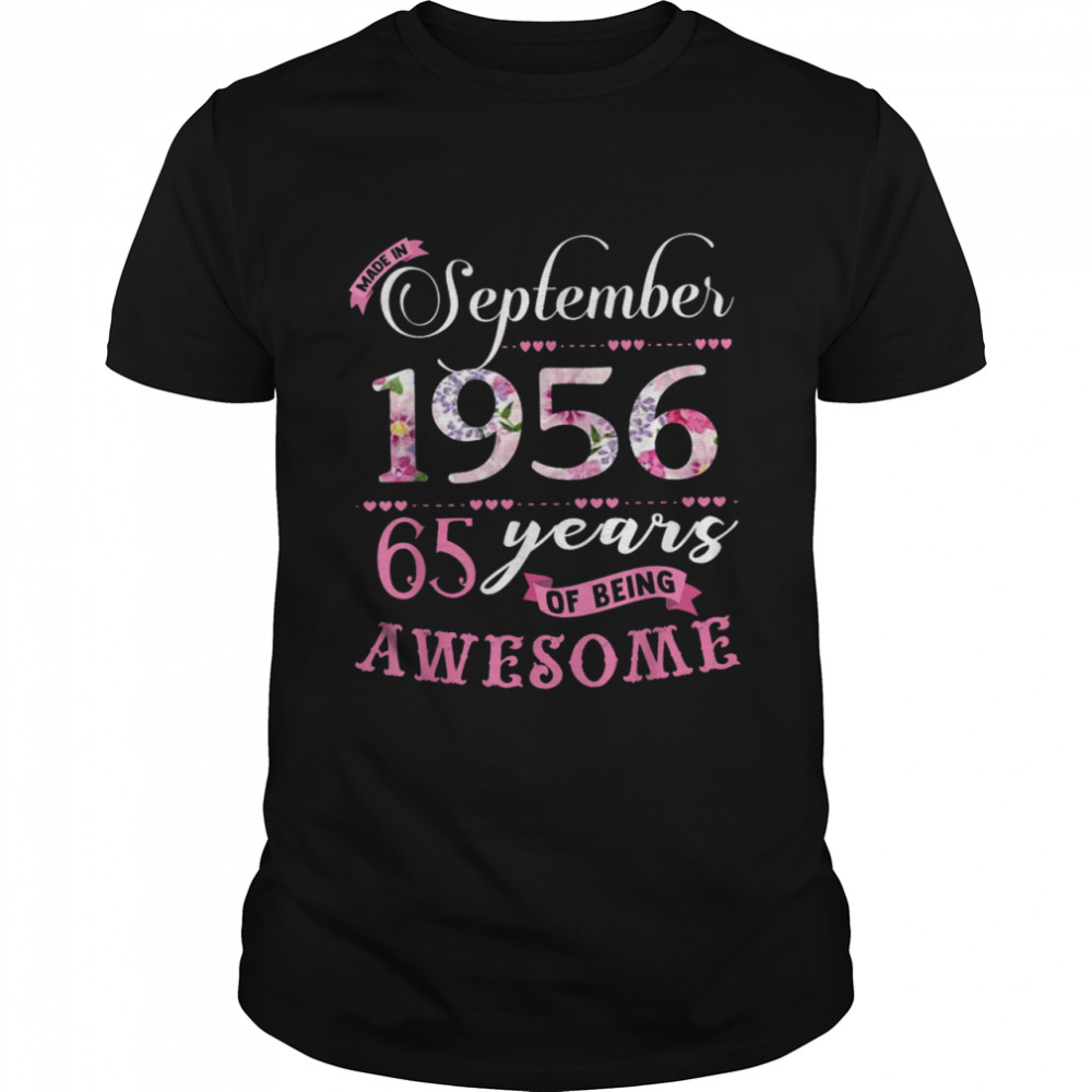 65Th Birthday Floral Born In September 1956 Shirt