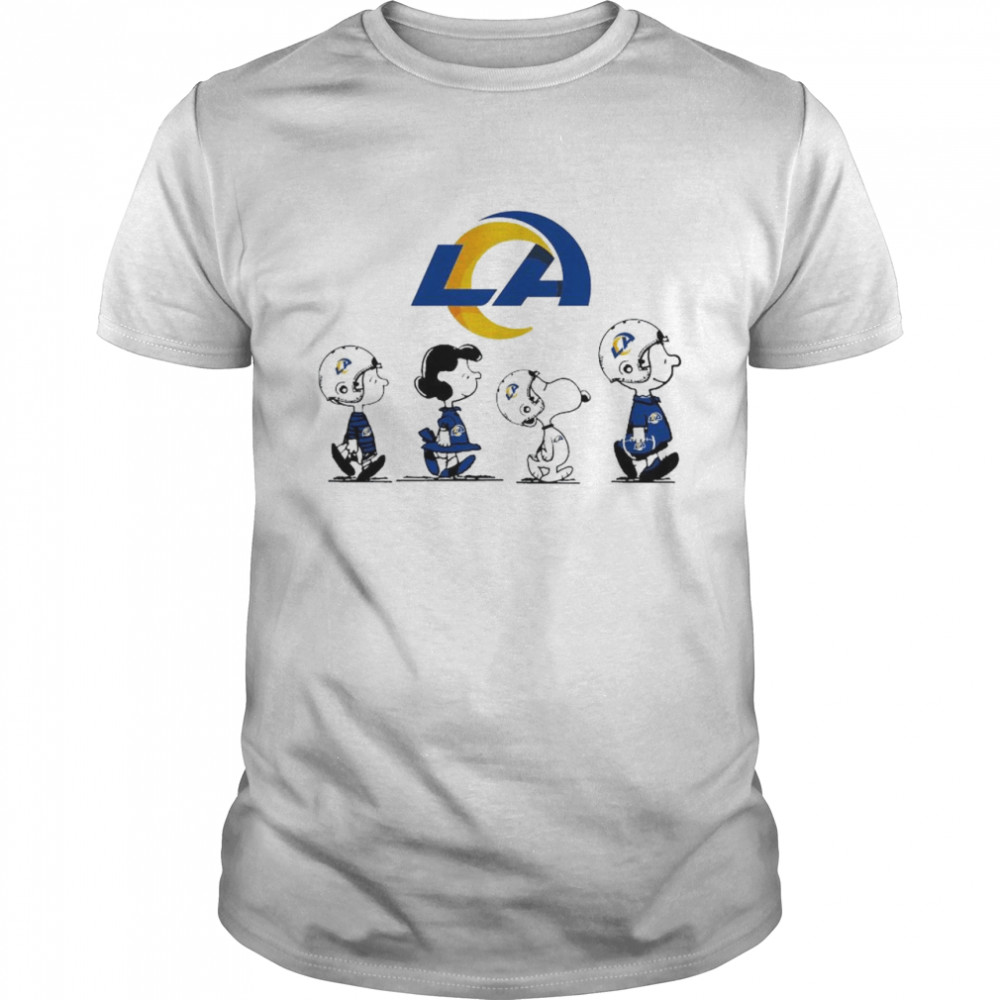 The Peanuts Character Charlie Brown And Snoopy Walking Los Angeles Rams Shirt